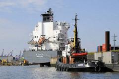 Ein Schlepper hat im Ellerholzhafen festgemacht - dahinter das Feederschiff Aglaia am Mönckebergkai.