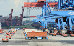 Terminalgelände in Hamburg Altenwerder. Automated Guided Vehicles warten unter der Containerbrücke auf ihre Ladung; andere stehen beladen zur Weiterfahrt bereit.