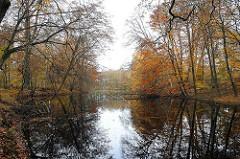 Herbst in Hamburg Volksdorf - Waldteich mit Herbstbäumen.