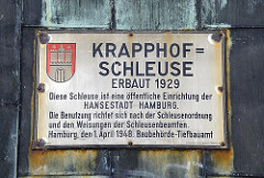 Schild Krapphof-Schleuse, erbaut 1929.
