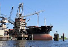 Der Massengutfrachter TPC ARIRANG wird über einen Getreideheber an der Wilhelmsburger Ölmühle entladen. Blick von der Süderelbe auf die Kaianlage am Neuhöfer Kanal. Bilder aus dem Hamburger Hafen.