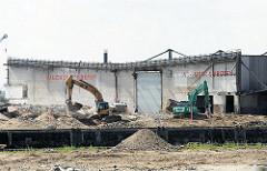 Abrissbagger am Petersenkai des Baakenhafens, der zum Hamburger Hafenstadtteil Hafencity  gehört. Teile eines Lagerschuppens sind abgerissen worden.