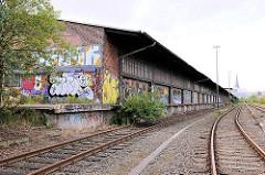 Alte Gleisanlage mit Laderampe und langgestrecktem Lagerhaus am Oberhafenkanal - Fotografien aus der Hafencity Hamburg.