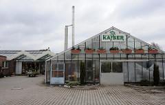 Treibhäuser und Strassenverkauf der Gärtnerei Kayser in Hamburg Ochsenwerder.