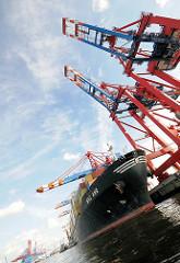Containerfrachter unter den Conternerbrücken im Walteshofer Hafen. Bilder aus dem Hamburger Stadtteil Waltershof - Fotos aus dem Hamburger Hafen.