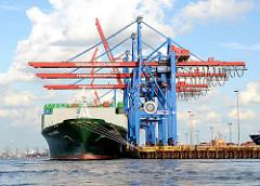 Bilder aus dem Hafen Hamburgs - Containerschiff EVER SUMMIT am Container Terminal Burchardkai. Bilder aus dem Hamburger Stadtteil Waltershof.