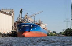 Frachtschiff am Kai des Neuhöfer Kanals in Hamburg Wilhelmsburg.