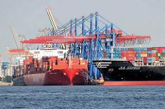 Schiffe im Hamburger Hafen - Containerschiff Santa Clara am Athabaskakai Containerterminal Burchardkai - der Frachter Hanjin United Kingdom läuft aus dem Waltershofer Hafen aus.