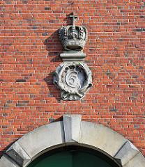 Wappen vom dänischen König Christian V, Altonaer Hauptkirche St. Trinitatis.