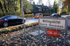 Stadtteilschild - Stadtteilgrenze Wellingsbüttel Bezirk Wandsbek - Strassenverkehr.