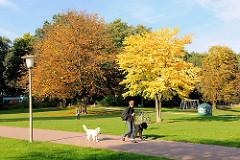 Spaziergänger mit Hunden im Eppendorfer Park - Herbstbäume mit herbstlichen Blättern auf der Wiese - Fotos aus dem Hamburger Stadtteil Eppendorf.