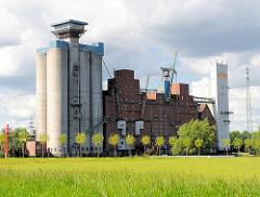 Reiherstieg - Silogebäude in Hamburg Wilhelmsburg - Wiese mit Bäumen.
