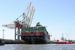 Anlegen eines Containerfrachters im Hambuger Hafen - Containerschiff HATTA im Waltershofer Hafen; Containerterminal Eurogate.