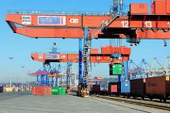 Portalkräne über den Gleisen auf dem Terminalgelände Burchardkai - ein Container wird auf den Güterwaggon abgesenkt.