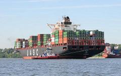 Hafenschlepper wenden das Containerschiff HATTA im Parkhafen vor dem Waltershofer Hafen - im Hintergrund das Elbufer von Hamburg Oevelgönne.