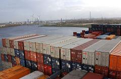 Containerschiff Hamburg Altenwerder - Kattwyk und Süderelbe.