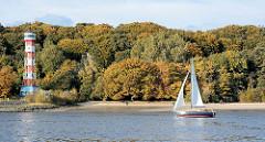 Leuchtfeuer / Leuchtturm Hamburg Wittenbergen - Stadteil Rissen - Wald mit herbstlich gefärbten Bäumen - Segelboot in der Sonne.