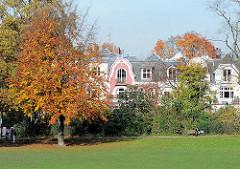 Herbstlich gefärbter Baum im Innocentiapark von Harvestehude - Gründerzeithäuser mit farbiger Fassade im Hintergrund.