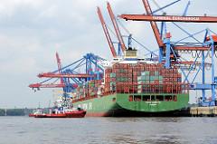 Das Containerschiff CSCL EUROPE legt am Burchardkai ab; zwei Hafenschlepper ziehen das 43m breite und 334 lange Schiff vom Kai in die Fahrrinne.