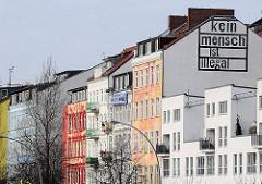 Häuser der Hafenstrasse - Bilder aus Hamburg St. Pauli - kein mensch ist illegal.
