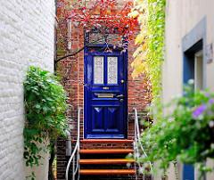Hauseingang, Gründerzeittür blau gestrichen; Herbstlaub an der Hauswand. Wohnhäuser in Hamburg Finkenwerder.