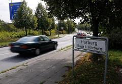 Stadtteilgrenze Schild Harburg - Bezirk Harburg - Strassenverkehr.