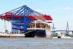 Bilder aus dem Hamburger Hafen - Containerschiff unter den Containerbrücken am Containerterminal Burchardkai.
