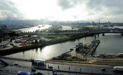 Gegenlichtpanorama vom Billhafen, der Norderelbe und dem Baakenhafen - östliches Hafengebiet an der Elbe, Stadtteil Hamburg Hafencity.