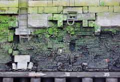 Alte, teilweise zerstörte Kaimauer im Hamburger Hafen; ein großer Eisenschäkel zum Festmachen von Schiffen ist durch einen eingelassenen Ring geführt. Eine verbogene Eisentreppe führt zum Wasser; bei Niedrigwasser zeigen sich die Baumstämme, die das