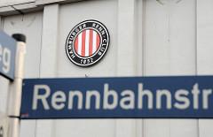 Strassenschild Rennbahnstrasse Logo Hamburger Renn-Club 1852.