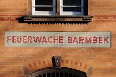Bilder aus den Hamburger Bezirken / Stadtteil Barmbek Süd. Historisches Gebäude der Alten Feuerwehr in der Bachstrasse. Ziegelarchitektur  / Backsteinarchitektur der Hansestadt Hamburg.