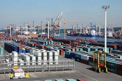 EUROGATE Container Terminal Hamburg Waltershof - Containercarrier + Containerlager, Waltershofer Hafen.