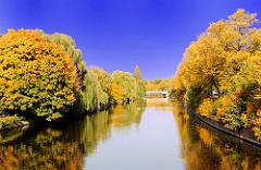 Herbstbäume am Alsterufer - Herbstsonne in Hamburg - prächtig gefärbtes Herbstlaub an den Bäumen, die sich im Wasser spiegeln; im Hintergrund die Görnebrücke.