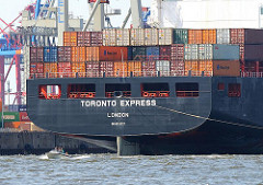 TORONTO EXPRESS Hamburger Hafen HHLA Containerterminal Burchardkai, Sportboot