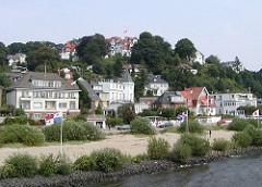Strand und Strandpormenade mit Elbstrand von Hamburg Blankenese - Süllberg.