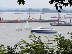 Arbeiten zur Zuschüttung des Mühlenberger Lochs (2001) - Erweiterung des Airbusgeländes - Bilder aus Hamburg Nienstedten, Blick vom Hirschpark.