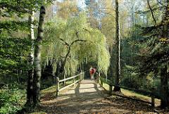 Brücke zwischen Bäume über die Alster in der Gemeinde Tangstedt, Kreis Stormarn.
