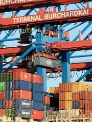 Containerbrücken Containter Terminal Burchardkai - Containerladung auf einem Frachter im Waltershofer Hafen / Hamburger Hafengebiet.