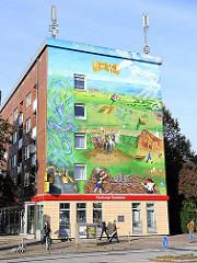 Wandmalerei zu 700 Jahre Jenfeld - Fassadenmalerei.