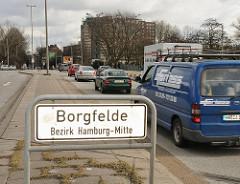 Strassenschild Grenzschild Stadtteilschild Hamburg Borfelde - Borgfelder Strasse