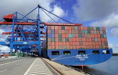 Heck Containerschiff HYUNDAI FORCE im Hamburger Hafen Altenwerder