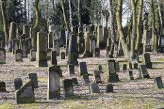 Hamburger Grabstätten - Juedischer Friedhof Foersterstrasse - Grabmale und Baumbestand.