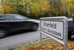 Ortschild Stadtteil Bramfeld, Bezirk Wandsbek.