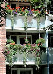 Mit Balkonpflanzen und Grünpflanzen dicht bewachsene Balkons im Hamburger Stadtteil Hamm.