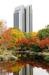 Herbstfarben im Japanischen Garten vom Planten un Blomen - Hotel Radisson Blue - Hotelhochhaus, 1973 fertig gestellt - Architekten Schramm + Pempelfort.