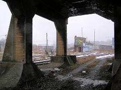 Unter dem Eisenbahnviadukt an der Versmannstrasse - lks. der Verlauf der Zollgrenze des Hamburger Freihafens mit dem Zollzaun.