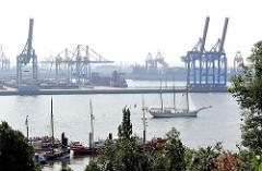 Blick vom Elbhang auf den Museumshafen Oevelgönne und die Hafenanlagen am BurchardkaiTerminal - das Segelschiff Mare Frisium fährt unter Motorkraft auf der Elbe.