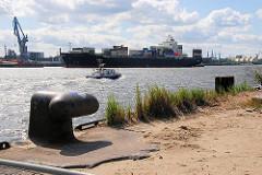 Bilder aus der Hamburge Hafencity - Eisenpoller am Strandkai - ein Boot der Wasserschutzpolizei fährt elbabwärts (2007)