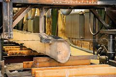 Der Baumstamm wird in der Blockbandsäge besäumt und Bretter / Bohlen aus dem Starkholz geschnitten - Bau des Gemüse-Ewers in Hamburg Bergedorf.