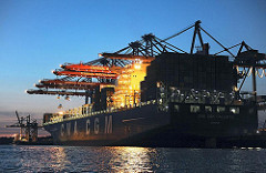 CMA CGM CALLISTO - Nachts im Hafen, Burchardkai - Containerbrücken, Beleuchtung